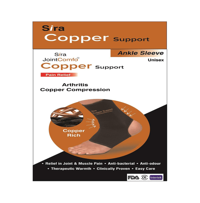 Sira Copper Compression Ankle Sleeve Support M