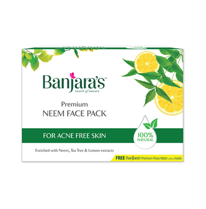 Banjara's Premium Neem Face Pack with Rose Water 30ml Free