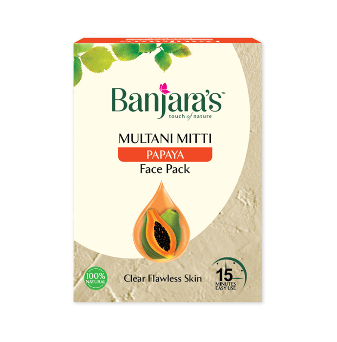 Banjara's Multani Mitti Face Pack Powder Papaya Pack of 2