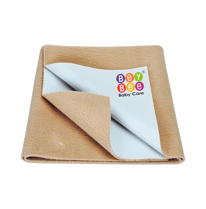 Bey Bee Waterproof Baby Bed Protector Dry Sheet for Toddlers (100cm X 70cm) M Beige