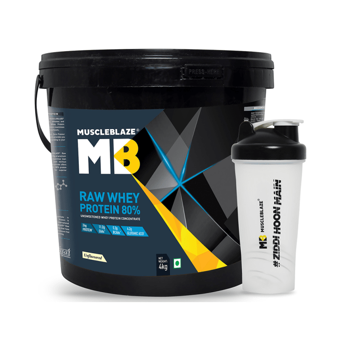 MuscleBlaze Raw Whey Protein with Free Shaker Unflavoured
