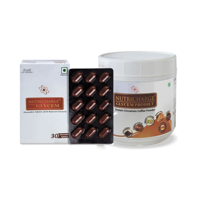 Nutricharge Combo Pack of Glycem 30 Tablet and Nutricharge Glycem Powder 500gm