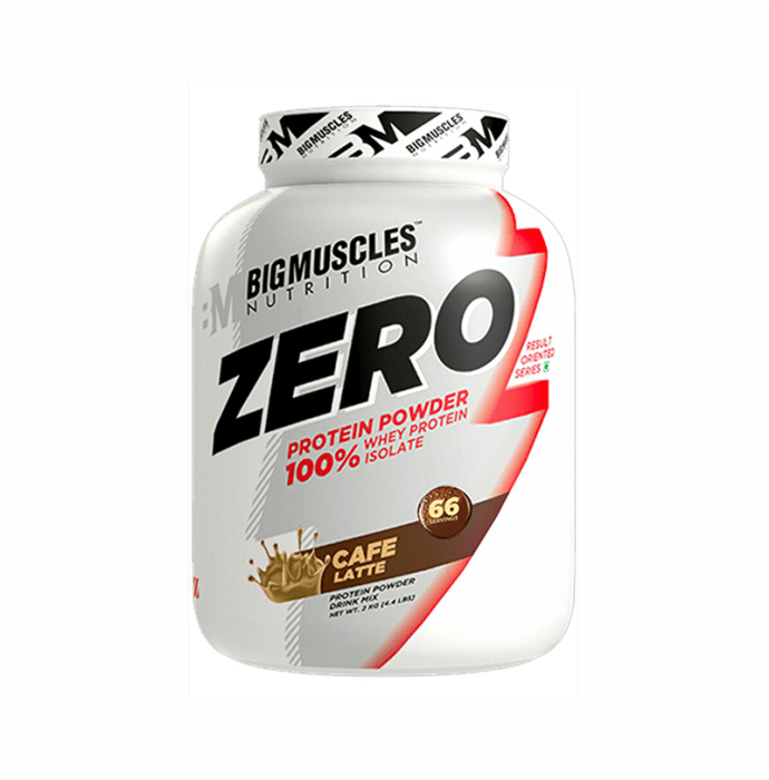 Big  Muscles Zero Protein Powder 100% Whey Isolate Cafe Latte