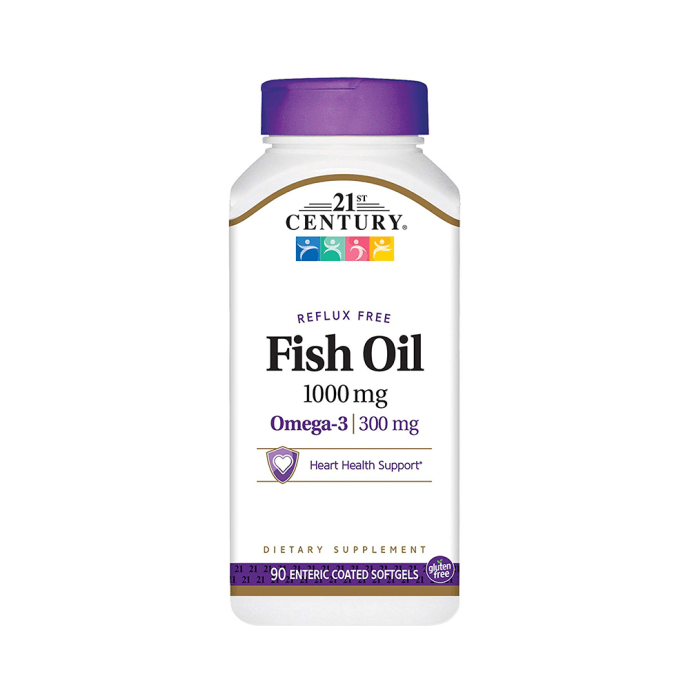 21st Century Fish Oil 1000mg Enteric Coated Softgels