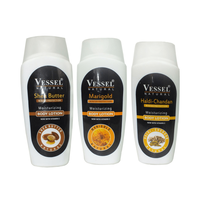 Vessel Combo Pack of Natural Winter Protection Moisturizing Body Lotion with Shea Butter, Marigold and Haldi Chandan (200ml Each)