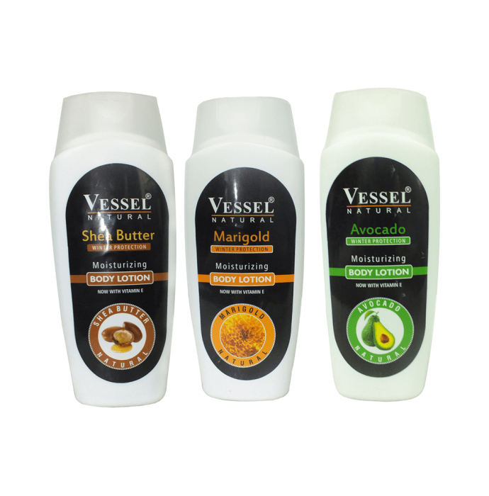 Vessel Combo Pack of Natural Winter Protection Moisturizing Body Lotion with Avocado, Marigold and Shea Butter (200ml Each)
