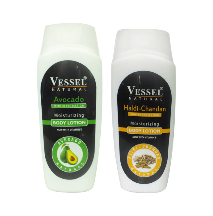 Vessel Combo Pack of Natural Winter Protection Moisturizing Body Lotion with Avocado and Haldi Chandan (200ml Each)