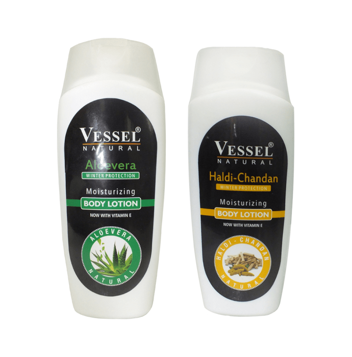 Vessel Combo Pack of Natural Winter Protection Moisturizing Body Lotion with Aloe Vera and Haldi Chandan (200ml Each)