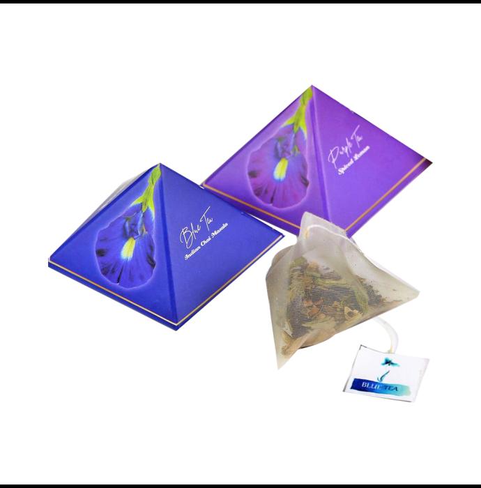 Blue Tea Herbal Tea Gift Box 9 Handcrafted Pyramid Tea Bags (Blue Tea Indian Chai Masala and Purple Tea Spiced Lemon)