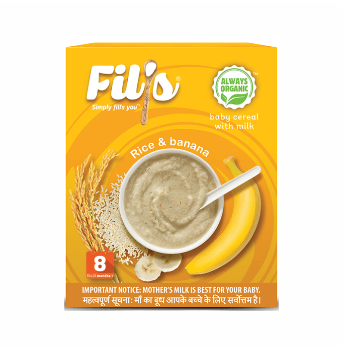 Fil's Organic Baby Cereal with Milk, 8-24 Months + Rice and Banana
