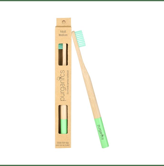 Purganics Bamboo Toothbrush for Adults Green Medium