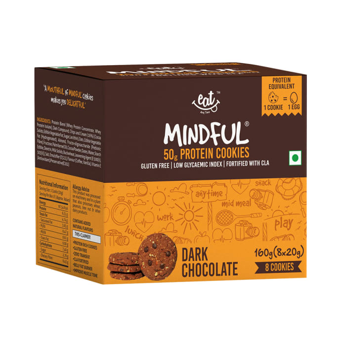 Eat Anytime Mindful 50gm Whey Protein Cookies (20gm Each) Dark Chocolate