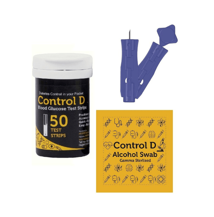 Control D Combo Pack of 50 Test Strips, 50 Alcohol Swabs and 50 Lancets