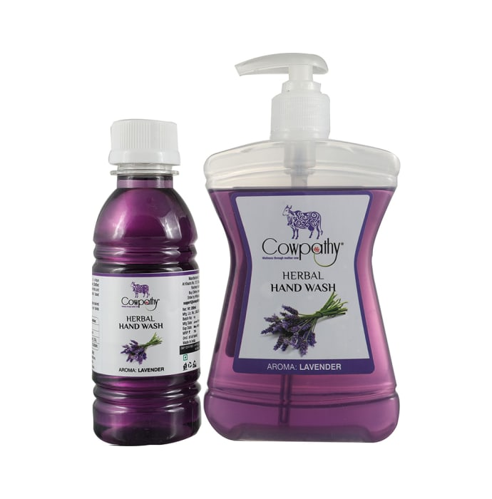 Cowpathy Combo Pack of Herbal Handwash Bottle 250ml with Refill 200ml Lavender