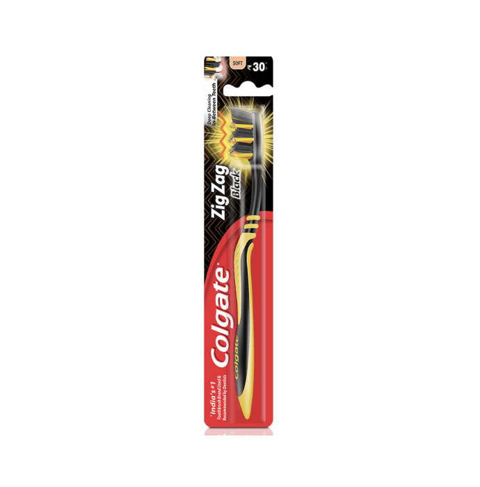 Colgate Zig Zag Bristle Toothbrush Black Soft
