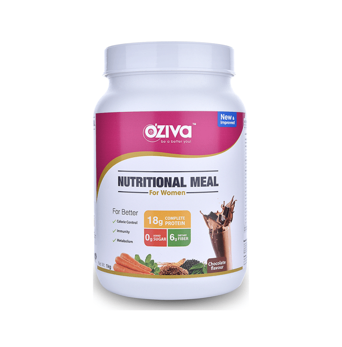 Oziva Nutritional Meal Shake for Women Chocolate with Shaker Free