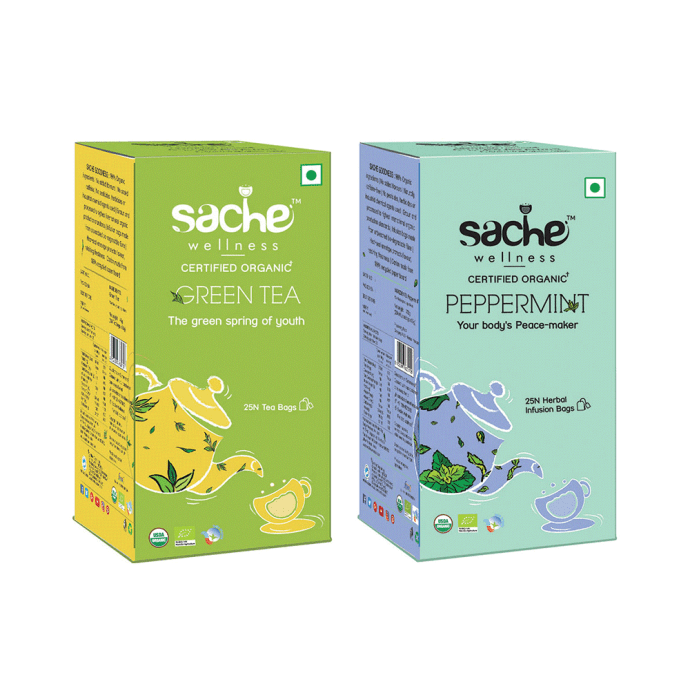 Sache Wellness Combo Pack of Organic Green Tea 25 Tea Bags & Peppermint 25 Infusion Bags