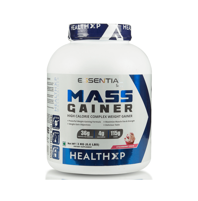 HealthXP Mass Gainer Strawberry Cream