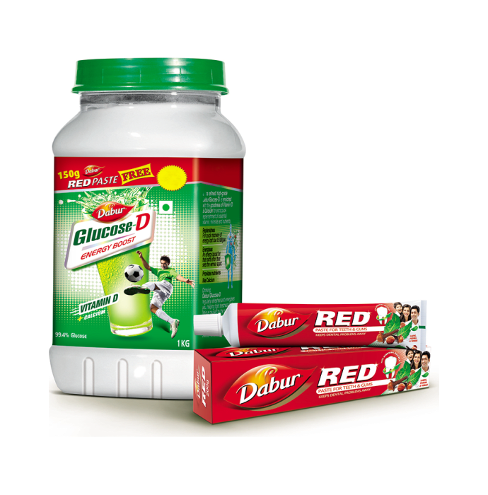 Dabur Glucose-D Jar 1kg + Red Tooth Paste 150gm Free