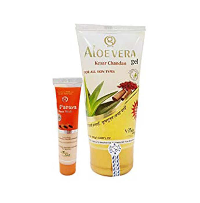 Vrinda Amrit Aloe Vera Gel Kesar Chandan with Papaya Face Wash Free
