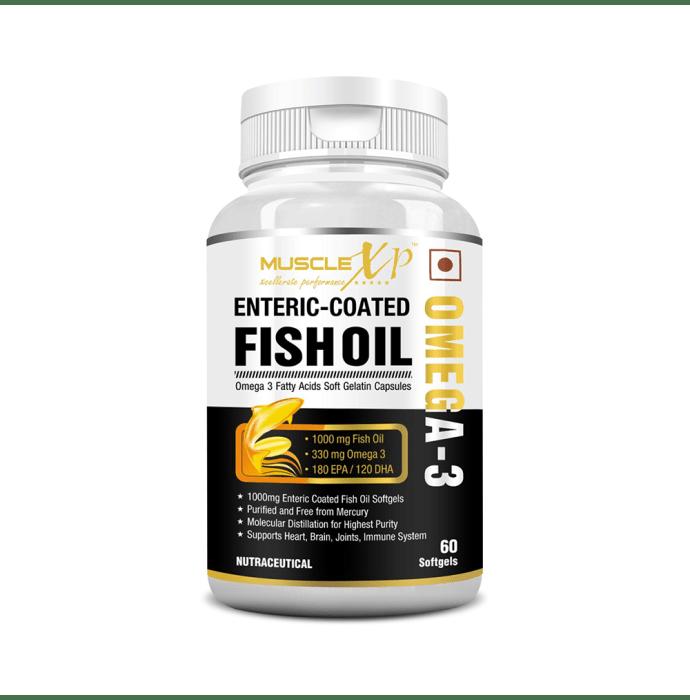 MuscleXP Enteric Coated Omega 3 Fish Oil 1000mg Softgels
