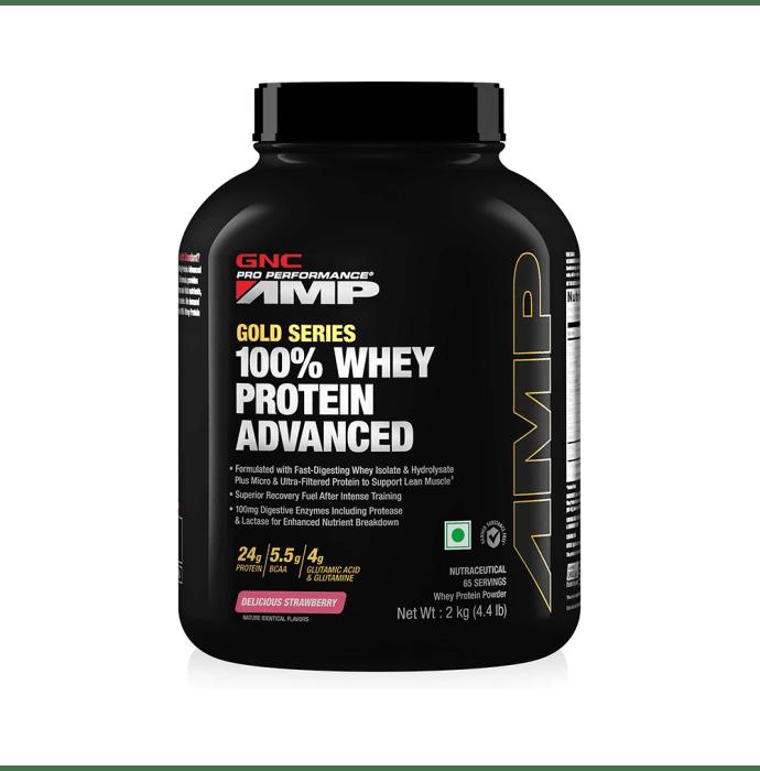 GNC Amp Gold 100% Whey Protein Advanced Powder Delicious Strawberry