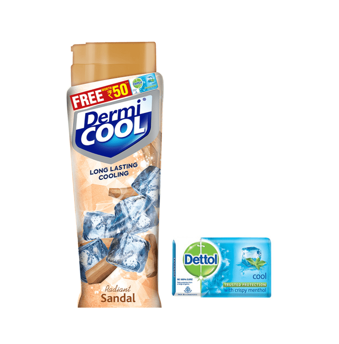 Dermicool Prickly Heat Powder Sandal with Dettol Cool Soap 125gm free