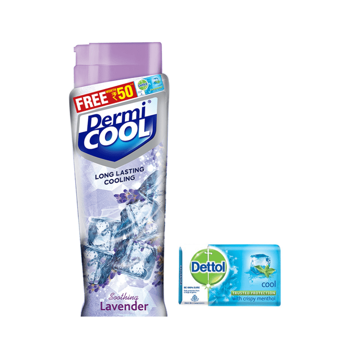 Dermicool Prickly Heat Powder Lavender with Dettol Cool Soap 125gm free