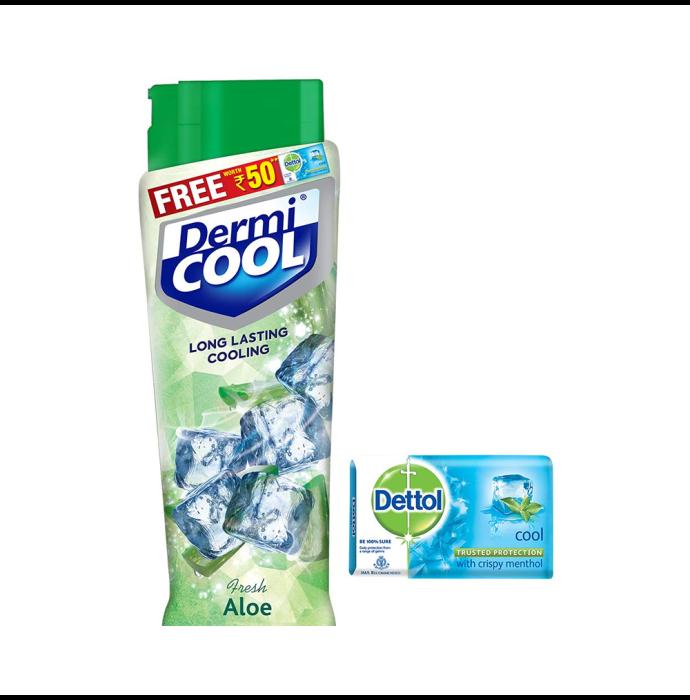 Dermicool Prickly Heat Powder Fresh Aloe with Dettol Cool Soap 125gm free