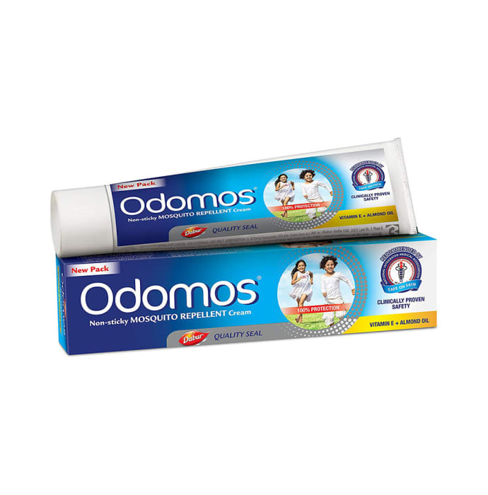 Odomos Non-Sticky Mosquito Repellent Cream with Vitamin E & Almond Oil