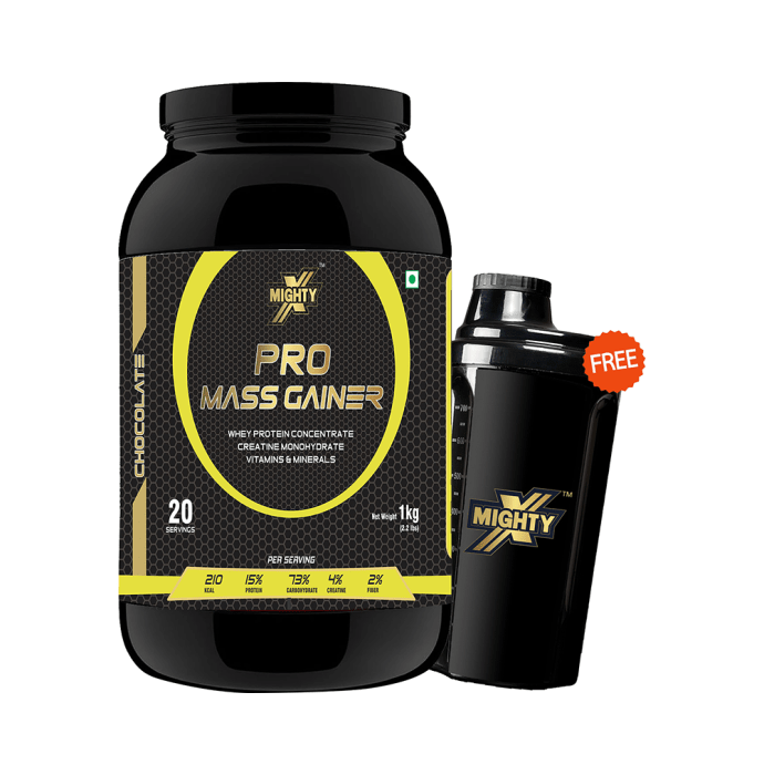 MightyX Pro Mass Gainer Chocolate with Shaker Free