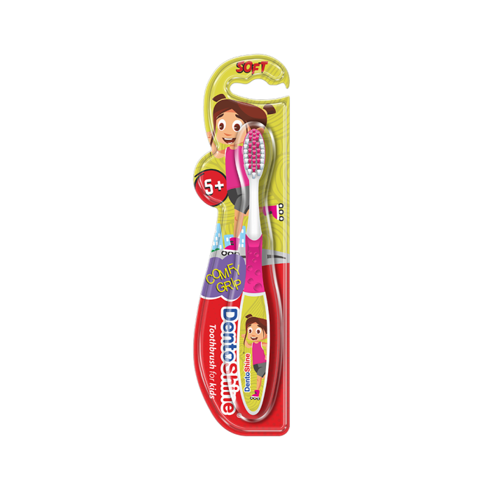 DentoShine Comfy Grip Toothbrush for Kids Pink Age 5 Plus