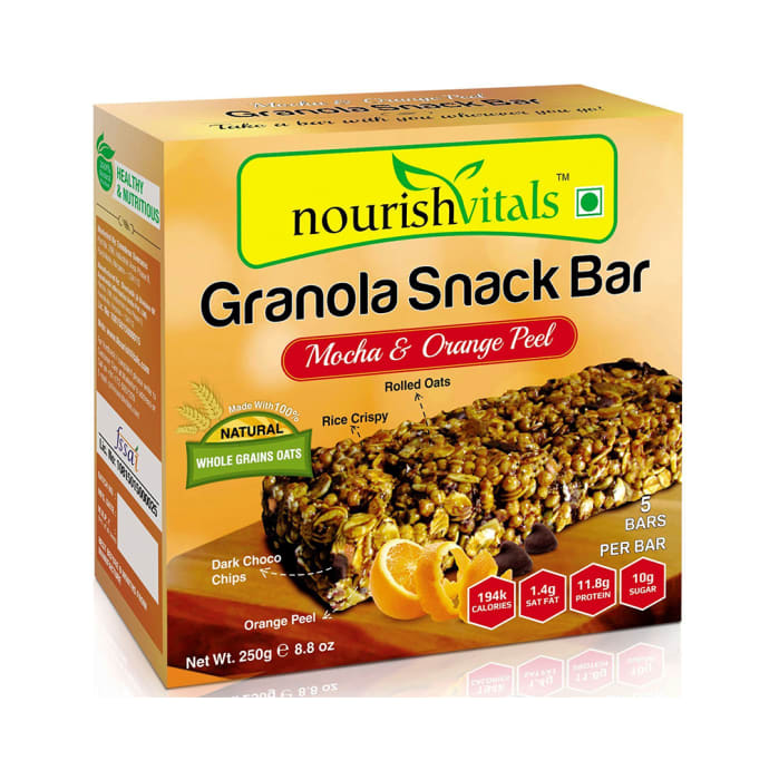 NourishVitals Granola Snack Bar Mocha & Orange Peel