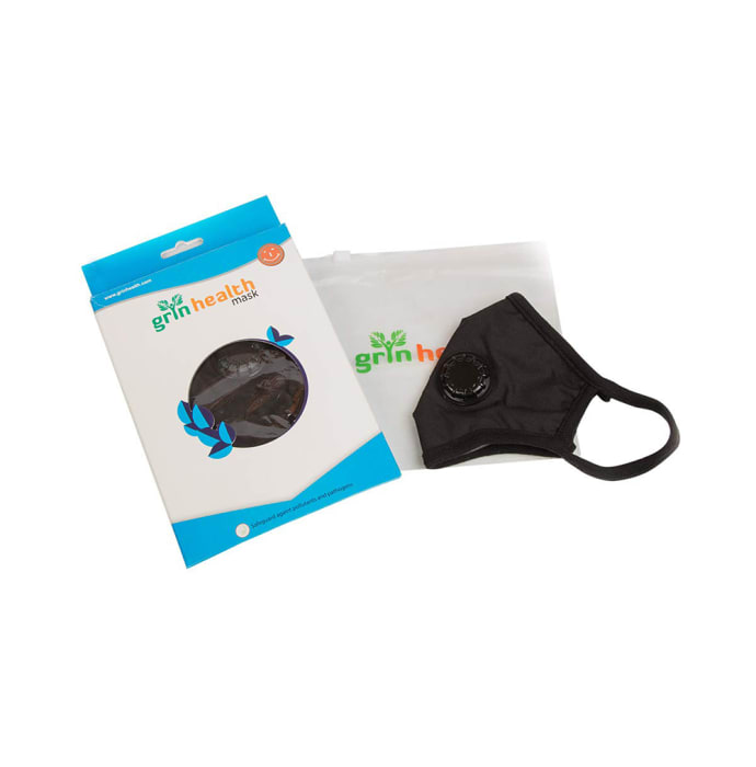 Grin Health N99 Anti-Pollution Face Mask, Particulate Respirator with Easy Exhalation Valve Standard Black