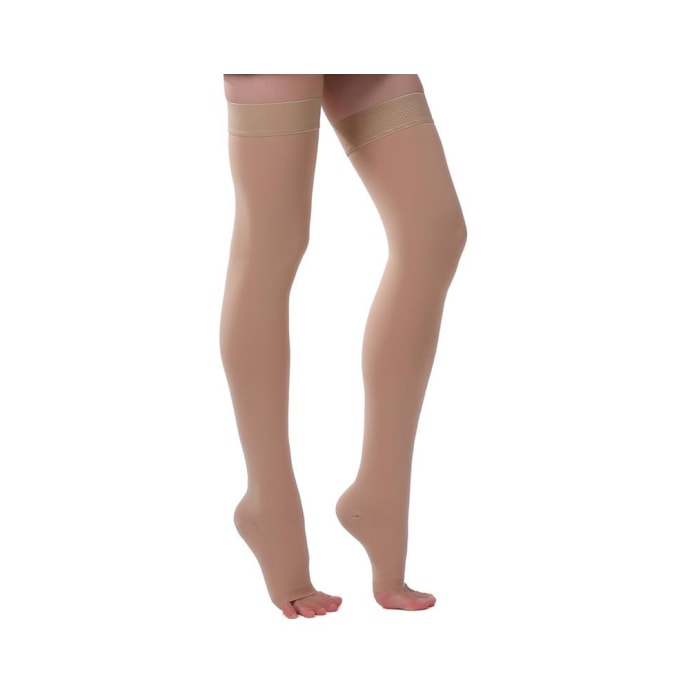 Ontex Cotton Compression Stockings Thigh Length for Varicose Veins L Beige