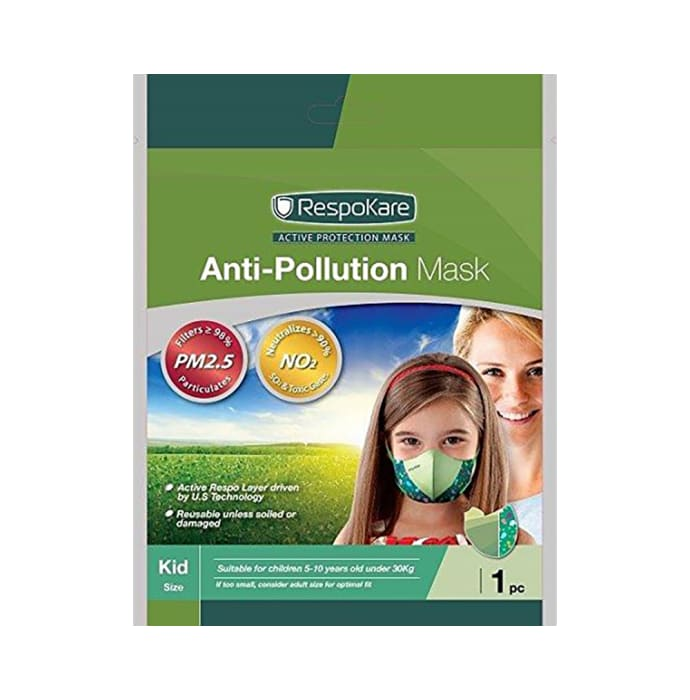 Respokare Anti Pollution Mask for Kids Green
