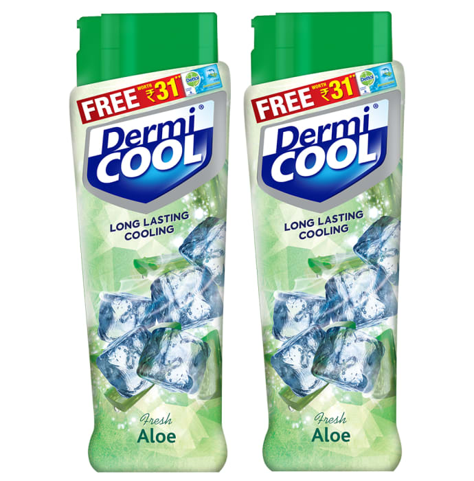 Dermicool Prickly Heat Powder 150gm (With Free Dettol Cool Soap 75gm) Fresh Aloe Pack of 2