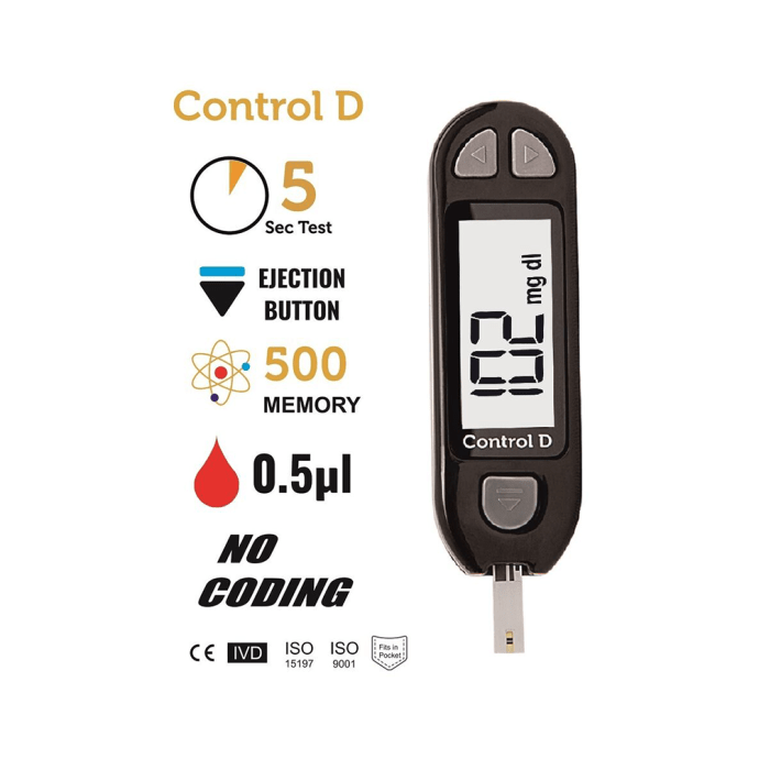 Control D Blood Glucose Monitor with 25 Strips & Lancets