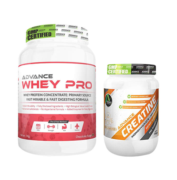 Advance Nutratech Combo of Whey Pro Chocolate Fudge 1kg and Creatine Unflavored 300gm