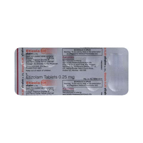 Etizola 0 25 Tablet: View Uses, Side Effects, Price and
