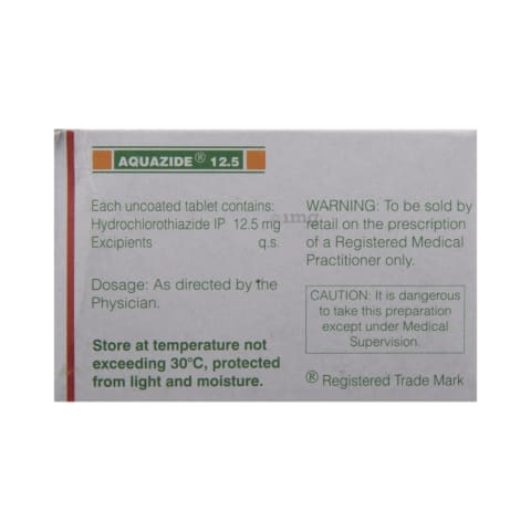 Aquazide 12 5 Tablet: View Uses, Side Effects, Price and