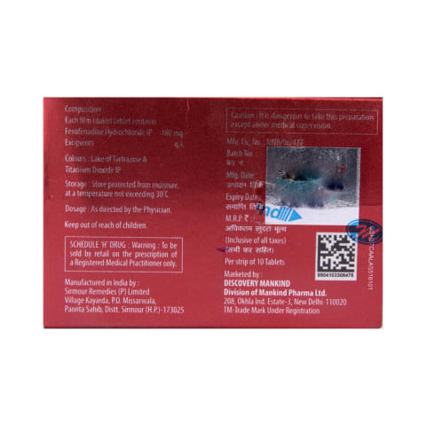 Histafree 180 Tablet: View Uses, Side Effects, Price and