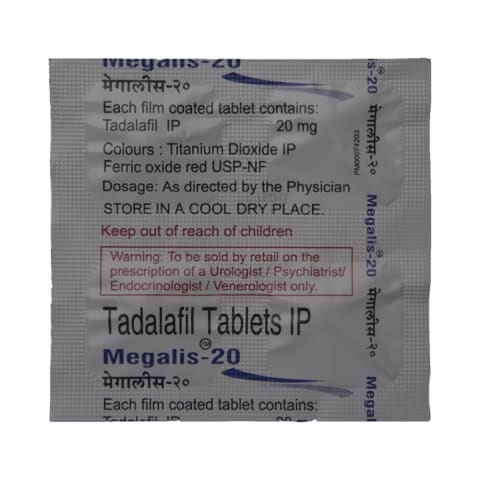 Megalis 20 Tablet: View Uses, Side Effects, Price and Substitutes | 1mg