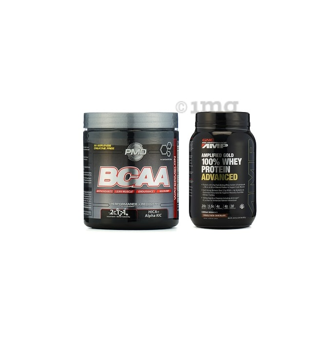 GNC Amp Gold 100% Whey Protein Advanced Chocolate Powder with (NDS) PMD BCAA Powder Watermelon