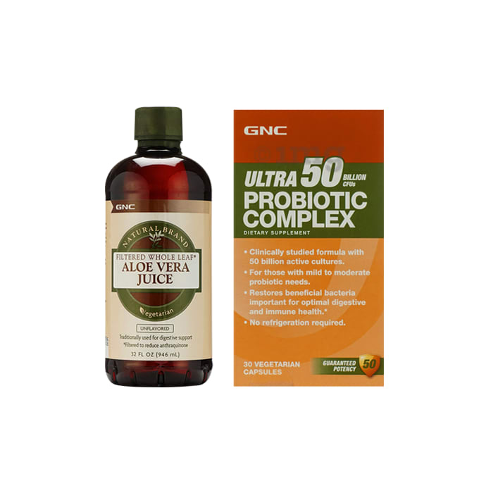 GNC Aloe Vera Juice Unflavoured with Ultra Probiotic Complex 50Bn CFUs Capsule