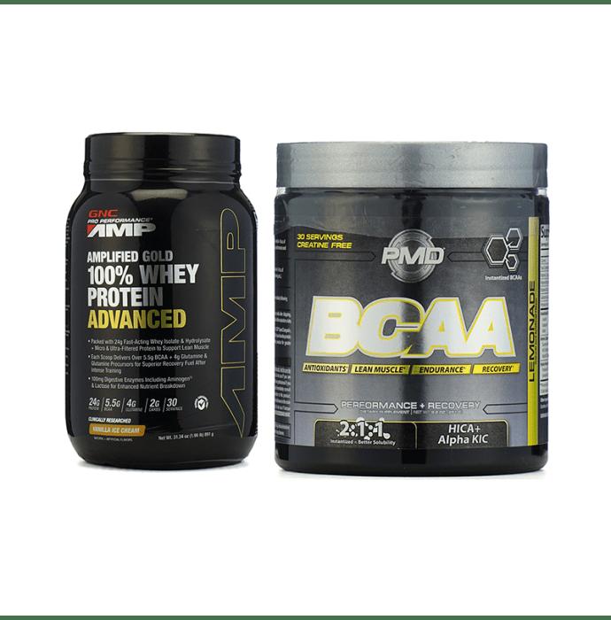 GNC Amp Gold 100% Whey Protein Advanced Vanilla Powder with GNC (NDS) PMD BCAA Powder Lemonade