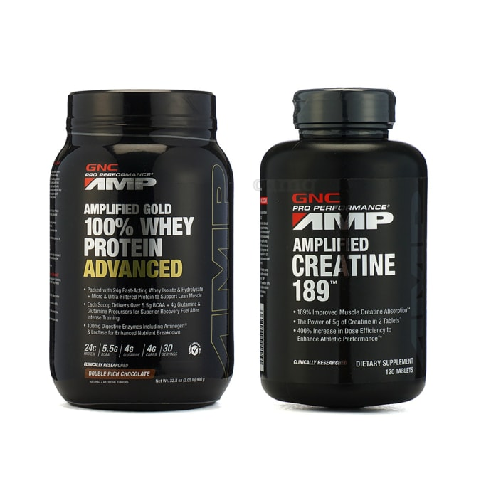 GNC Amp Gold 100% Whey Protein Advanced Cookies N Creame Powder with Amplified Creatine 189 Capsule
