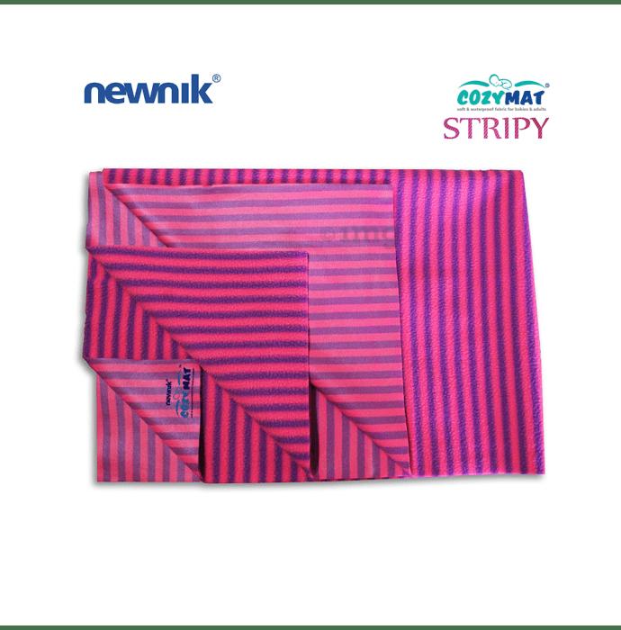 Newnik Cozymat Stripy Soft (Narrow Stripes) (Size: 70cm X 100cm) Medium Flamingo