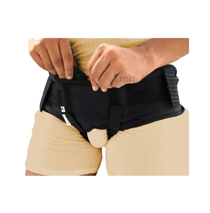 Wonder Care A107 Inguinal Hernia Support with Two Removable Compression Pads XXL Black