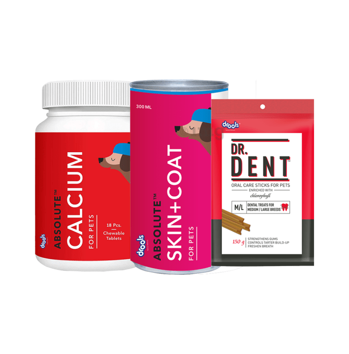 Drools Combo Pack of Absolute Skin + Coat Syrup , Calcium Tablet and Dr. Dent Oral Care Sticks (Medium/ Large Breed)